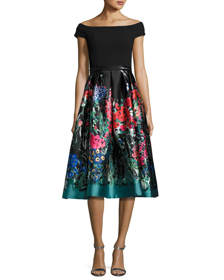 Off-the-Shoulder Ponte & Taffeta Cocktail Dress, Black