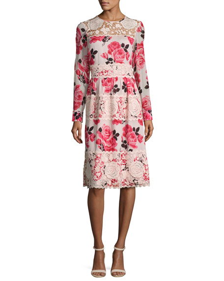 kate spade new york rosa long-sleeve floral lace-trim