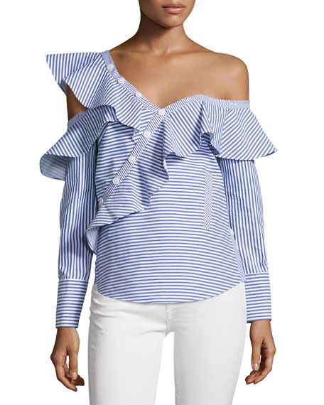 Self-Portrait Striped Frill Asymmetric Shirt
