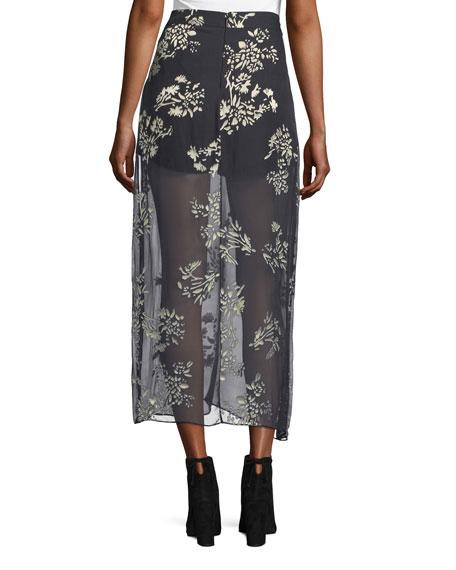 The Midi Slayer Velvet Maxi Skirt, Black