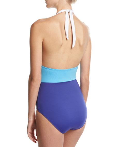 colorblock halter one-piece swimsuit