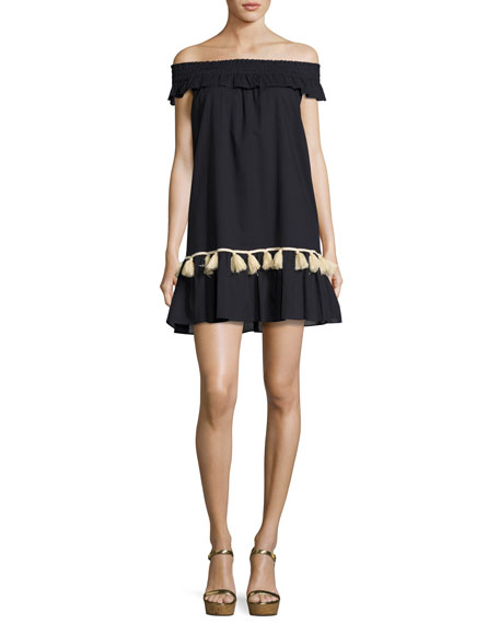 MISA Los Angeles Gia Off-the-Shoulder Tassel-Trim Minidress, Dark