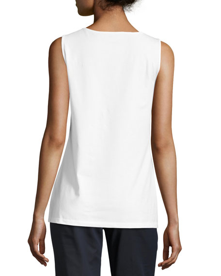 Long Scoop-Neck Tank, White