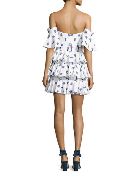 Irene Ruffled Cotton Midi Dress, Blue