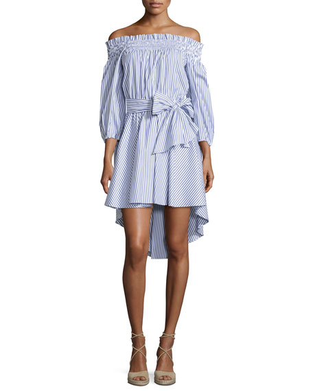 Caroline Constas Lou Off-The-Shoulder Striped Dress