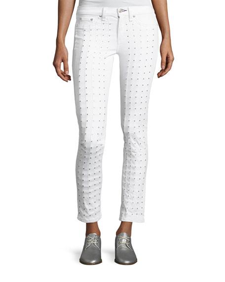 rag & bone/JEAN Studded Skinny Jeans, Blanc