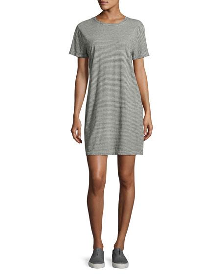 Current/Elliott The Beatnik Striped T-Shirt Dress, Gray
