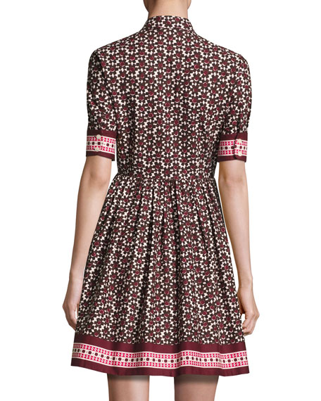 printed poplin a-line shirtdress, brown/multicolor