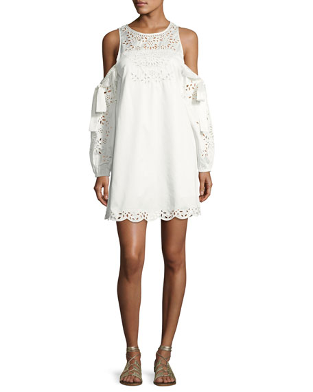 Parker Newton Lace-Trim Cotton Dress, White