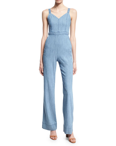 Alice + Olivia Crystal Wide-Leg Denim Overall Jumpsuit,