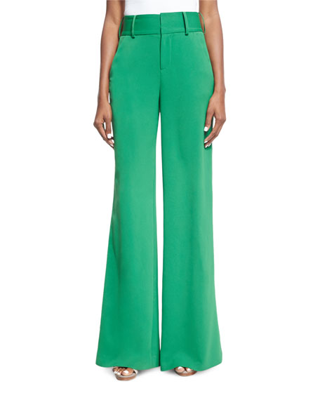 Alice + Olivia Paulette High-Waist Wide-Leg Pants, Green
