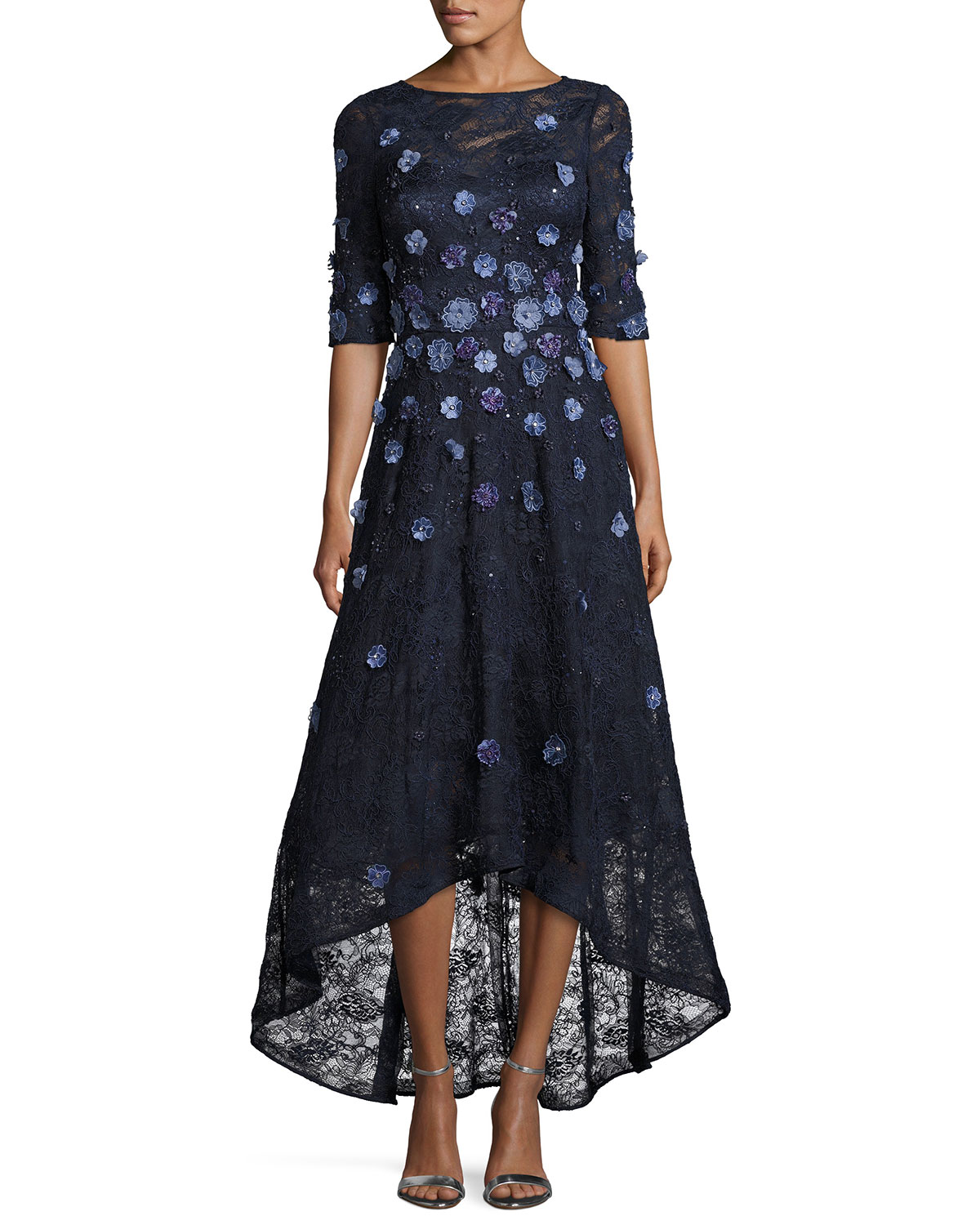 8e2043725ea Rickie Freeman for Teri Jon Floral Lace High-Low Cocktail Dress ...