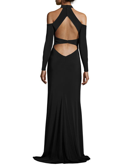 La Femme Long-Sleeve Jersey Cold-Shoulder Gown, Black