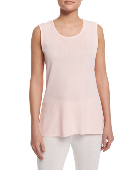 Misook Round-Neck Sleeveless Tank, Rose Water, Petite