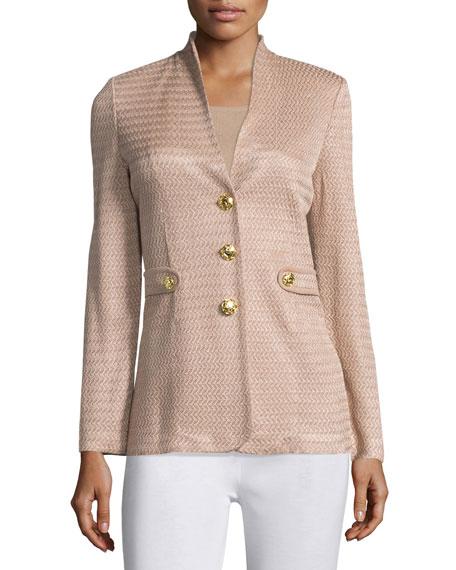 Textured Gold-Button Jacket, Petite