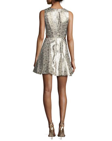 Varita Metallic Cutout Fit & Flare Party Dress