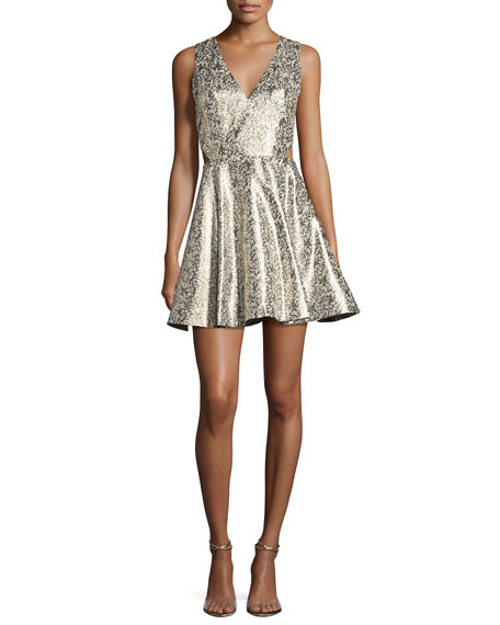 Alice + Olivia Varita Metallic Cutout Fit &