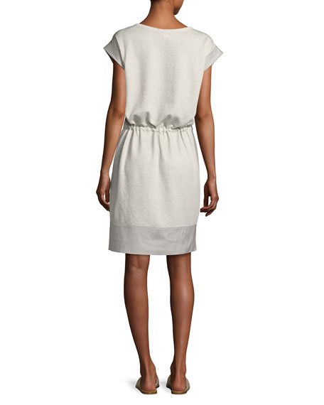 Scoop-Neck Drawstring-Waist Knit Dress, Pebble Melange