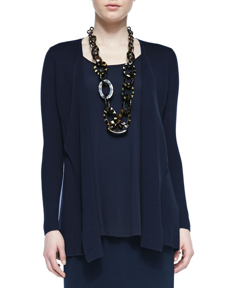 Eileen Fisher Silk Cotton Interlock Jacket, Midnight, Plus