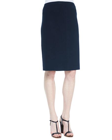 Silk-Cotton Straight Skirt, Midnight