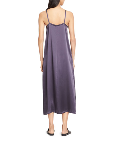 Pleated V-Neck Slip Dress, Plum