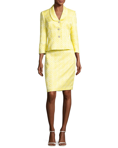 Albert Nipon Floral Jacquard Jacket w/ Pencil Skirt,