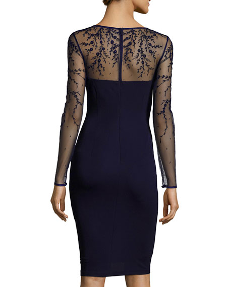 Long-Sleeve Jersey Illusion Cocktail Dress, Dark Navy