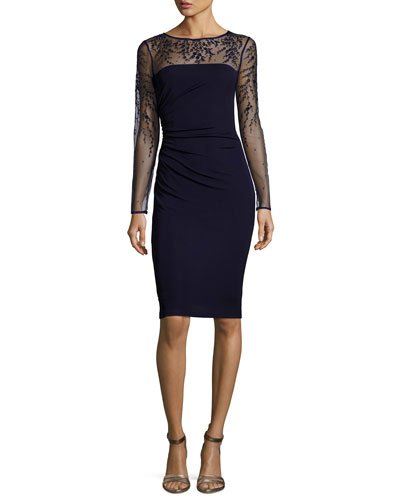 Long-Sleeve Jersey Illusion Cocktail Dress  Dark Navy