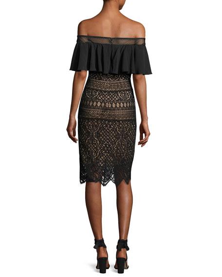 Off-the-Shoulder Crochet Lace Cocktail Dress, Black