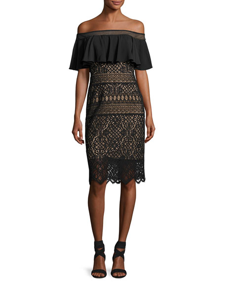 Tadashi Shoji Off-the-Shoulder Crochet Lace Cocktail Dress, Black
