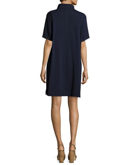 Short-Sleeve Piqué Dress, Plus Size