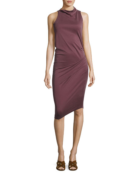 Halston Heritage Sleeveless Mock-Neck Draped Jersey Dress, Sugar
