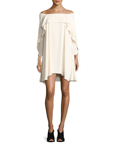 Off-the-Shoulder Shift Dress w/ Flounce Detail, Cream