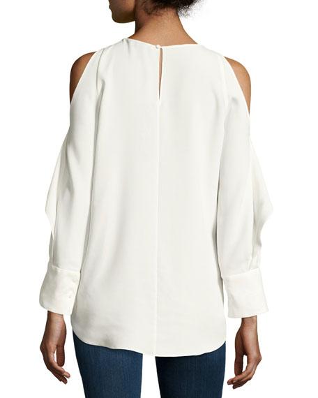 Long-Sleeve Cold-Shoulder Tunic w/ Flutter Detail