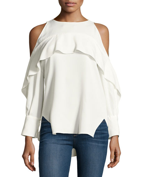 Halston Heritage Long-Sleeve Cold-Shoulder Tunic w/ Flutter