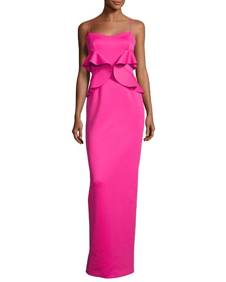 Black Halo Delray Sleeveless Ruffle Scuba Gown, Iconic