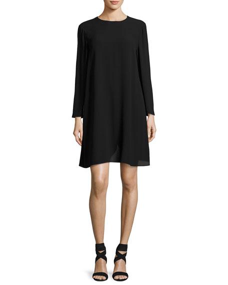 Bracelet-Sleeve Silk Georgette Dress, Petite