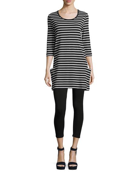 Striped Cotton Interlock Tunic, Black/White, Petite
