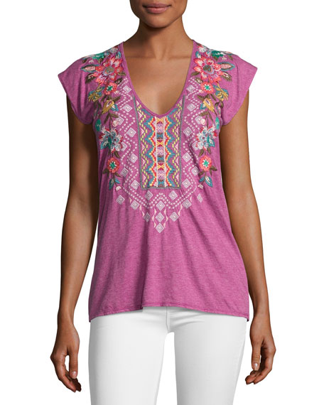 Cortez Short-Sleeve Embroidered Tee, Plus Size