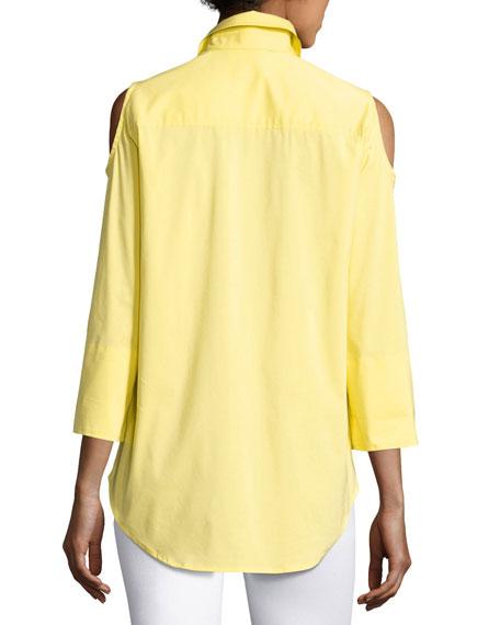 Cold-Shoulder Button-Front Shirt