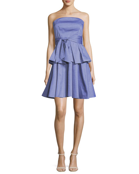 Milly Kylie Strapless Ruffled Shirting Dress, Denim