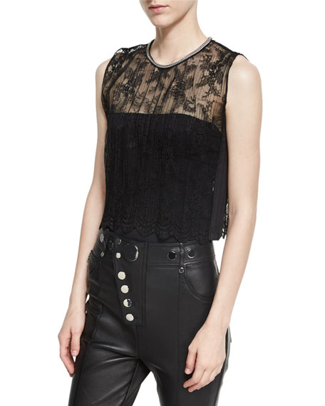 Pleated Lace Top with Chain Trim
