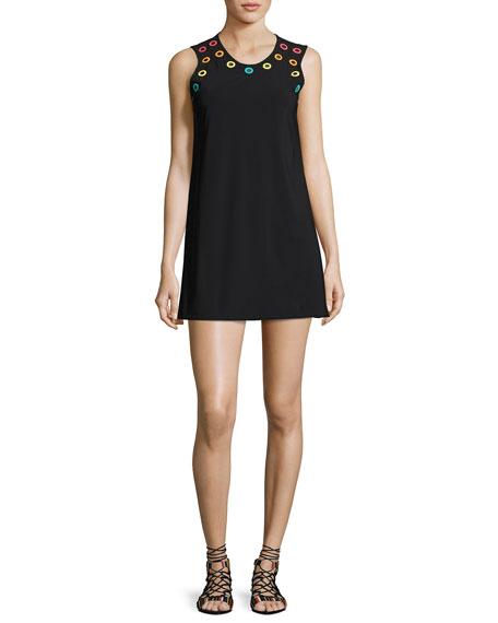 Karla Colletto Prisma Round-Neck Coverup Mini Dress, Black