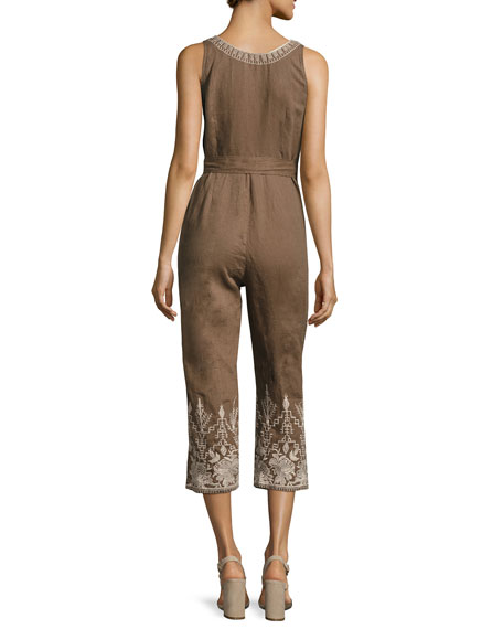 Marlene Embroidered Linen Cropped Jumpsuit, Plus Size