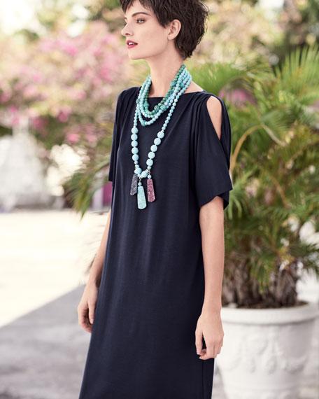 Eileen Fisher Split-Sleeve Jersey Shift Dress