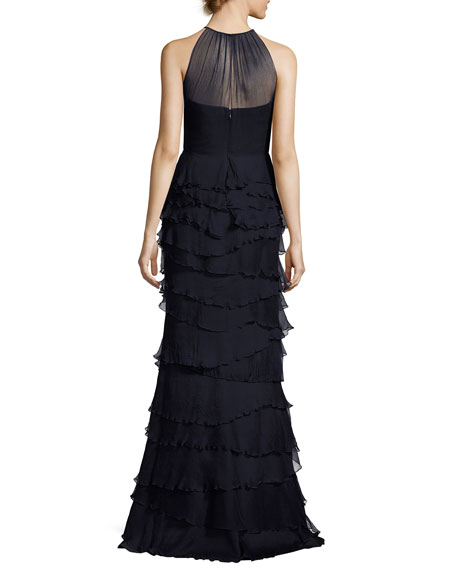 Sleeveless Silk Tiered Ruffle Gown, Navy