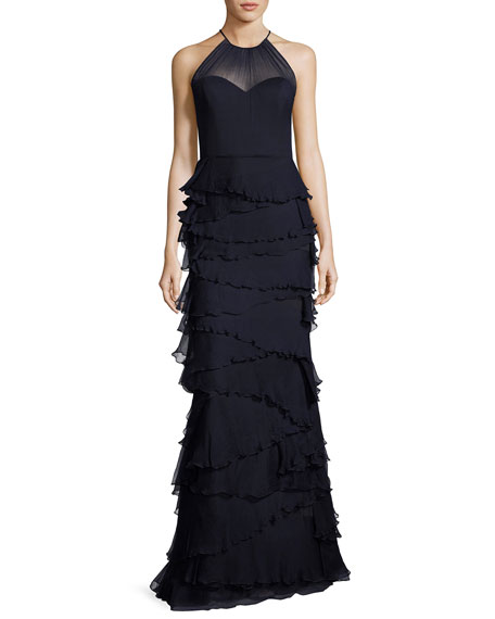 Badgley Mischka Sleeveless Silk Tiered Ruffle Gown, Navy