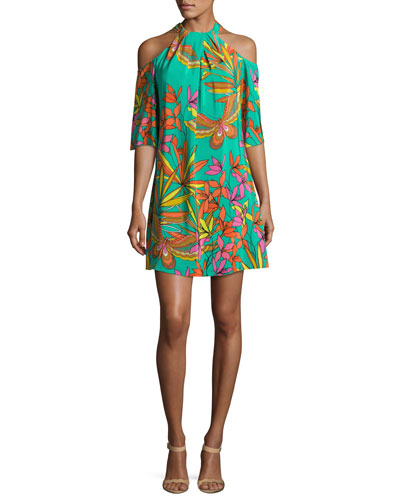 Spirit Cold-Shoulder Printed Silk Mini Dress, Teal