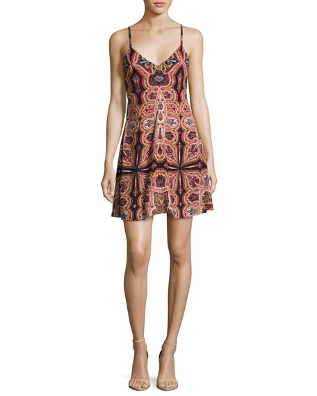 Alice + Olivia Alves Cross-Back Flared Dress, Multi