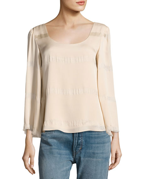 Elizabeth and James Jesper Scoop Neck Fringe Top,